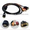 HDMI to 3 RCA VGA HD15 Video Audio Cable