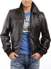 nova 2014 fshion dos homens de couro jaqueta de lã com capuz frente