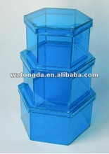 Transparent blue hard plastic box for packaging goods(WZ5471)