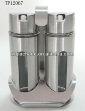 fancy stainless steel glass window cruet set with nozzle