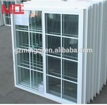 hot sale pvc / upvc windows sliding glass window with gril design