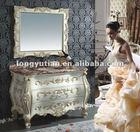 Ivory color.red oak wood carving bathroom cabinet furniture (DRK-D6032)