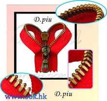 N ° 5 dipiu dents , fini laiton antique usage en cuir et sacs à glissière en métal