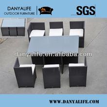 DYDS-D760E,Wicker Garden Patio Dinning Set, Rattan Outdoor Restaurant Table Chair, Cane Cafe Table Chair, 6 Seat GardenTable Set