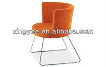 modern living room cafe shop chromed stainless steel frame fabric leather velvet round back dining room chair