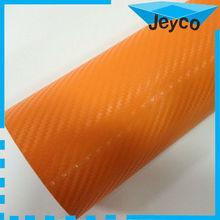 JEYCO VINYL Orange 3d autocollant en fibre de carbone, car carbon fiber sticker with air free bubble
