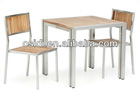 OP-T03+OP-738 Stainless steel outdoor dining table set with teak wood top