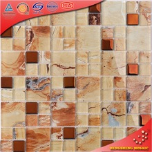 LH007 Gold And Orange Antique Kitchen Tile Gold Glass Mosaic Glass Painting Pictures