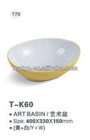 Yellow Color Wash Basin Yellow Bathroom Basin Yellow Wash Sink T-K60