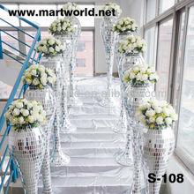 silver mirror wedding column wedding pillar walk way stand decoration for wedding decoration(S-108)