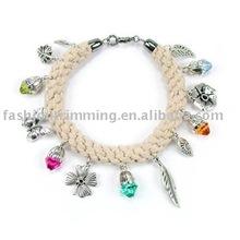 Charm braided hemp bracelet