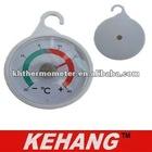 Plastic round fridge/freezer thermometer with hook