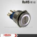 Hban 22mm( ce rohs ip65) blanc anneau lumineux avec stop. symbole interrupteur métallique, interrupteur électrique, puissance commutateur de bouton poussoir