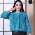 manteau en cuir de lapin de couleur romantique /veste petite en cuir/manteau en cuir de nouvelle vague