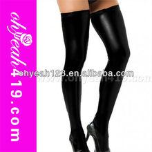 Hot sale sexy girls black vinyl leather stockingstube nylon stocking,black vinyl stocking