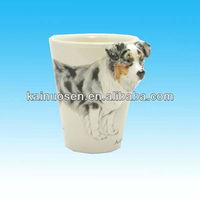 hotsale creative 3D Australian Shepherd Dog handle glaze ceramic mug