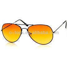 Night Driving Lens Blue Block Classic Metal Aviator Sunglasses