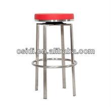 OB-930 4 leg fixed swivel bar stool in stainless steel