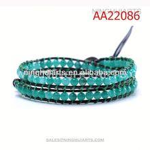adjusted 2 wrap natural green jade beaded braided China Manufacturer bracelet