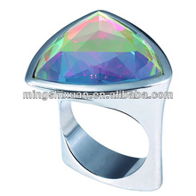 White steel plating,alloy ring with rhinestones and glass stones jewelry fashion