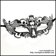 ME003-BK Wholesale Luxury Venetian Black Filigree Metal Laser Cut Halloween Fox Masks With Sparkly Stones