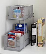 wire kitchen organizer metal shelving shelf rack storages basket cabinet organizers 2 layer mesh sliding storage drawer