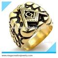 açoinoxidável cavaleiro fleur de lis de ouro vintage clássico freemason cool gravado mens anéis maçônicos