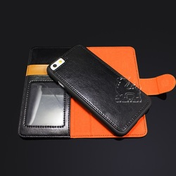 New Design Separable Leather Flip Phone Case for iPhone 6 Plus with Card Holder and Pen Holder