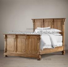 ST2W-European antique reproduction oak wood bedroom furniture set