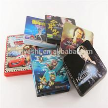 Dongguan factory rectangular standard metal cd dvd tin case with tray