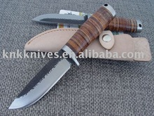 high carbon steel knife with leather handle leather sheath