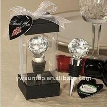 Hot sale elegant crystal ball wine bottle stopper wedding favors