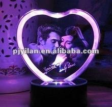 customer design elegant wedding gift 3d laser engraving crystal heart award