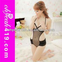 Black transparant nude sexy teddy wear