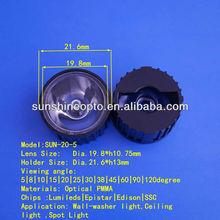 Smallest Angle 20mm Led Light Optical Led Lens 5 degrees