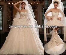 2013 Amazing champagne Cathedral train wedding dress & bridal wedding dress JAM-001
