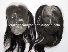 human hair silk PU base top lace front closure hair pieces