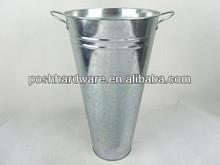 H5-0002K Posh natural galvanized metal antique flower vase with fixed handles,planter pot,silver metal flower vase
