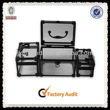 MLD-CC730 Aluminum Frame Cosmetic Case Black Beauty Acrylic Makeup