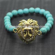Turquoise 8MM Round Beads Stretch Gemstone Bracelet with Diamante alloy leopard head Piece