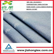 china producido molino de tela de algodón azul chambray con punto blanco de impresión