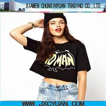top fashion design bad man Batman print 100%cotton short sleeve round neck sexy girl cropped t shirt wholesale clothing china