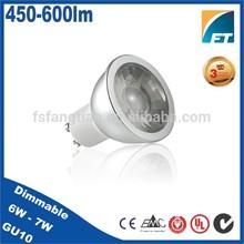 High Lumen 6W 500lm aluminum COB dimmable GU10 led spotlight bulb