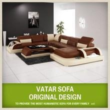 Modern u shaped leather sectional sofa H2213