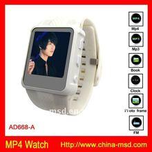 2011 silicone watch mp4 player for 8gb FM radio+TF card