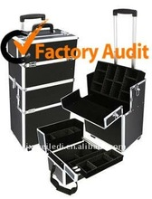 Fashion Black Aluminum Luggage Trolley Case With Drawers MLD-AC181