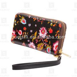 LLH leather wallet digital printing zipper wallet lady clutch wallet