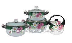 European Porcelain Induction Enamel Cookware Set And Whistling Tea Kettle