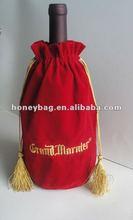 velvet wine bag with tassels,embroidery wine bag