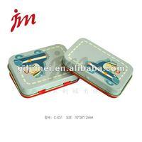 rectangular small hinge lid tin box